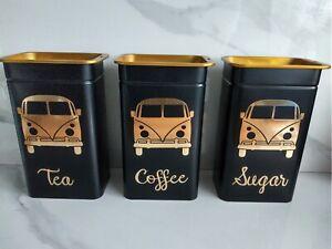 ♡ Camper Van Style Storage Tins VW Volkswagen Camper Tea Coffee Sugar ♡
