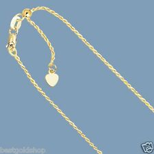 """Up to 22"""" Solid Adjustable Rope Chain Necklace Real 14K Yellow Gold 1.0mm"""