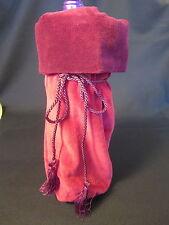 Maroon Holiday Wine Gift Bag Heavy Velour Fabric Tasseled Tie Reversible NWOT