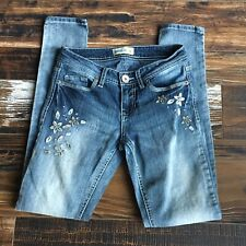 Womens' Skinny Embroidered Jeans Size 1 Stretch Low Rise Gasoline Measures 24x29