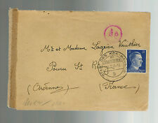 1943 Fallersleben Germany Concentration Camp KZ Cover to France Volkswagen Cance