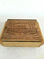 Vintage Wooden Carved Box With Hinged Lid