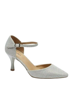 Womens Silver Heels Size 5 Wide Fit Glitter Court Shoes Ankle Strap Pointed Toe