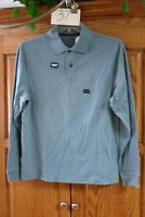 NEW MENS ST JOHNS BAY SUEDED  BLUE LONG SLEEVE POLO SHIRT SIZE SMALL