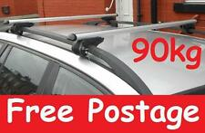 SILVER ALUMINIUM AERO ROOF BARS FOR RENAULT LAGUNA ESTATE LOCKABLE 90KG