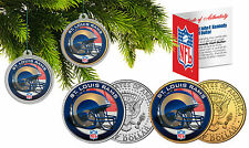 ST LOUIS RAMS Christmas Tree Ornaments JFK Half Dollar US 2-Coin Set NFL