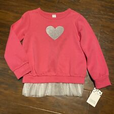 Harper Canyon Girls size 4 Pink Crew Neck Sweatshirt w Glitter Heart