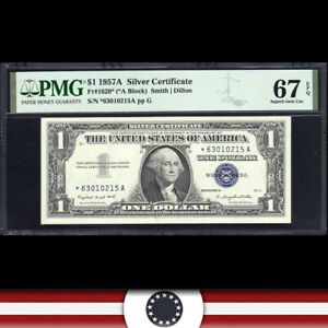 1957-A $1 SILVER CERTIFICATE *STAR REPLACEMENT* PMG 67 EPQ  Fr 1620* *63010215A