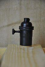 Matte Flat Black Turn Knob Light Bulb Socket 3 Way