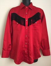 Vintage Red Rider Mexico Rodeo Western Shirt Black Fringe Pearl Snaps Red Large