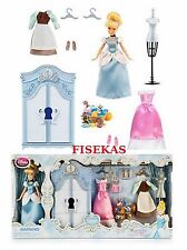 "Disney Store Mini Doll Cinderella 5"" Wardrobe Play Set Dresser Dress Gown NEW"