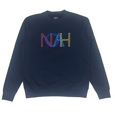 NWT Noah NY Men's Navy Retro Logo Embroidered Terry Sweatshirt M SS17 AUTHENTIC