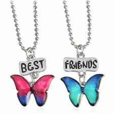 2 Pieces/set Best Friends Butterfly Pendant Necklaces Girl Jewelry Birthday Gift