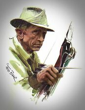 """Fred Bear Drawing 11"""" x 8 1/2"""" Reproduction archery w/Signature"""