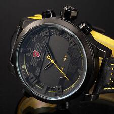 SHARK Men's LED Digital Quartz Wrist Watch Military Sport Dual Time Date Leather