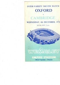 Oxford v Cambridge Varsity match programme 4th December 1974