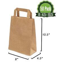 Brown Kraft Paper Gift Bags Bulk with Flat Handles 50Pc