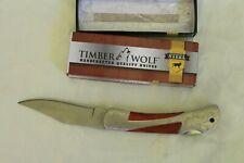 Timberwolf Folding Knife Custom Steel Series Wood Inlay Preowned in Box 19TW84