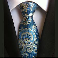 (NT167) Blu Oro Paisley Jacquard Uomini Cravatta Sposo Matrimonio Bestman Prom Uomo Cravatta