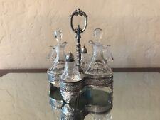Antique Sterling Silver Crystal Sheffield 308 Oil Vinegar Salt Pepper Cruet Set