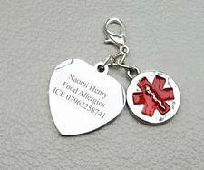 Engraved Charm SOS Medical Alert ID Food Allergy Men Women Any Medical Info
