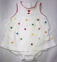 Carters Baby Girl Dress Bloomers One Piece Bodysuit New Born White With Hearts