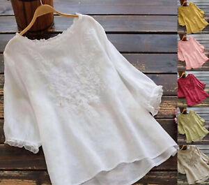 UK Summer Women Short Sleeve Embroidery Cotton blend Shirt Tops Blouse plus size