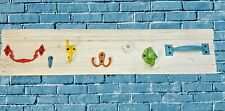 Rustic Wood Coat Rack Wall Mounted Wooden 7 Colorful Hooks Entryway Organization