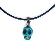 Turquoise Skull Charm Pendant Choker Necklace with Black Cord
