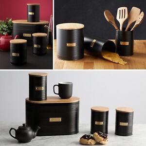Typhoon Black Bread Bin Tea Coffee Sugar Jar Pasta Storage Canisters Biscuit Tin