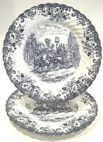 """Johnson Brothers England Blue Coaching Scenes 10"""" Dinner Plates ~ Set of 2"""
