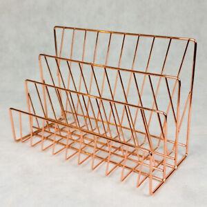3 Compartment Rose Gold Letter Rack Tray Holder Copper Desk Organiser Storage