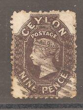 CEYLON-1861- QUEEN VICTORIA-9 P.-DARK BROWN- Y&T nr.20
