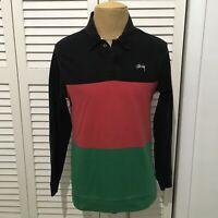 STUSSY Men's Long Sleeve Dress Shirt Black Green Red Striped Size Medium