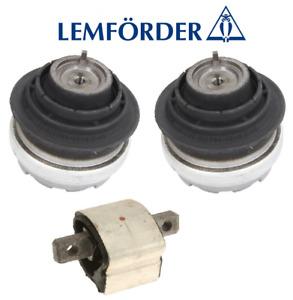 OEM Engine Hydraulic Motor Mount Set + Transmission Mount 3pc Mercedes Lemforder