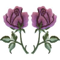 Pair of Pink Rose Patches Iron / Sew On Clothes Embroidered Flower Patch Badge