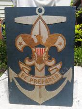 RARE FIND!!! ORIGINAL BOY SCOUT SEA SCOUT HAND CARVED SIGN - BE PREPARED C-1912