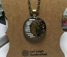 Mixed Media Bronze Sealed Circle Domed Resin Crystal Pendant Necklace Deco Moon