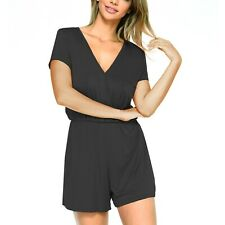 Womens Summer Casual Short Sleeve Cotton Playsuit Jumpsuit Romper Holiday Wear