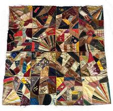 """*Rare* Original Family Victorian Crazy Quilt 1891 w Fine Fabrics 52� x 53"""""""