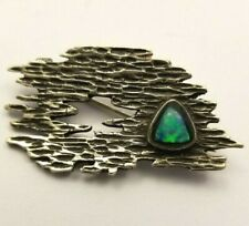 With Opal Signed Sil Stunning Designer Sterling Silver Brooch