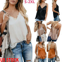 Womens Summer Strappy Vest Top Sleeveless Shirt Blouse Casual Loose Tank Tops US