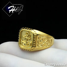 BIKER MEN Stainless Steel Gold Anchor Ring Size 8-13*R128