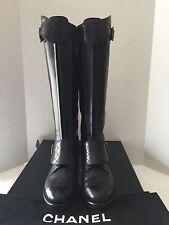 Chanel 12A Quilted Leather Riding High Boots, Black, Size 35
