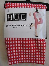NWT $44 Hue Women Checkered Knit Capri Leggings U16661 Tango Red Sz S