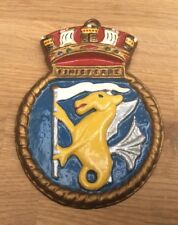 VINTAGE ROYAL NAVY WALL PLAQUE - HMS FINISTERRE