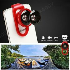 3 In 1 Camera Lens Fish Eye Wide Angle Macro Kit For iPhone 5 6S iPad Samsung S6