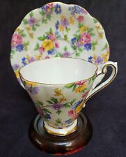 Vintage Royal Standard Floral Chintz #1523 Footed Cup & Saucer England
