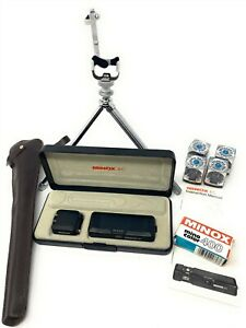 Vintage MINOX EC Miniature Spy Camera Flash, Film, Case Tripod and Flashcubes