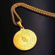 """Gold Plated Bible Verse Prayer Necklace with 22"""" Free Chain Christian Jewelry"""
